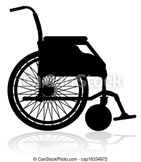 noir fauteuil roulant vecteur silhouette illustration