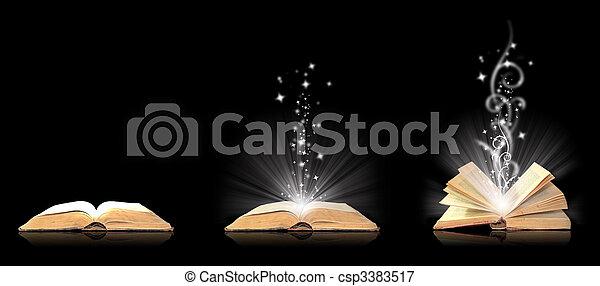 noir, livre ouvert, magie - csp3383517