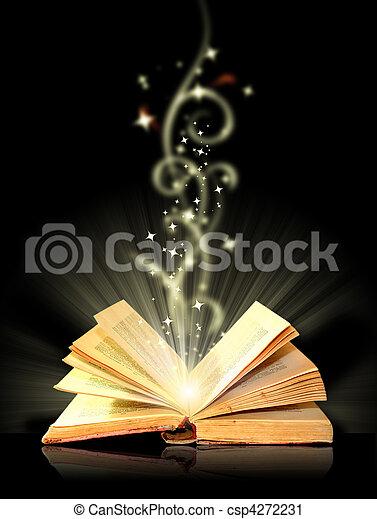 noir, livre ouvert, magie - csp4272231