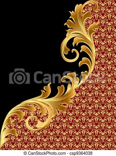 noir, ornement, fond, gold(en) - csp9364038