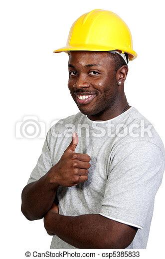 noir, ouvrier construction - csp5385833
