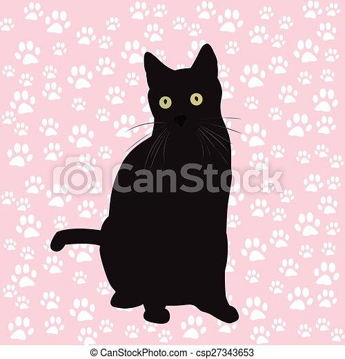noir, silhouette, chat - csp27343653