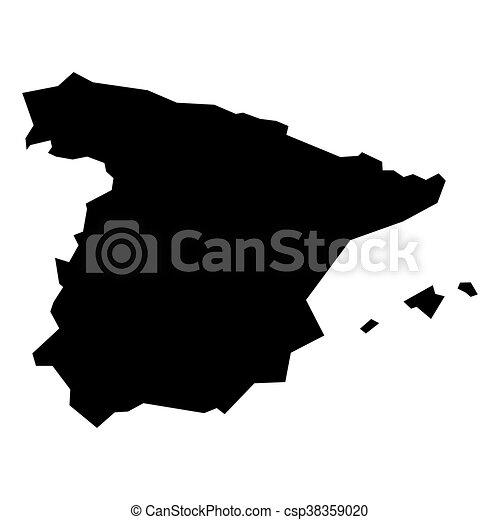 Carte Espagne Noir.Noir Silhouette Espagne Carte