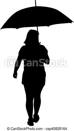 noir, silhouettes, femmes, parapluie, sous - csp45828164