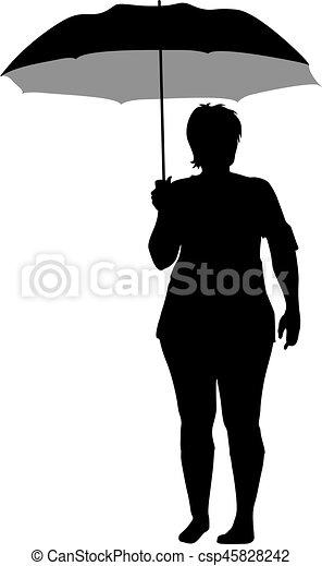 noir, silhouettes, femmes, parapluie, sous - csp45828242