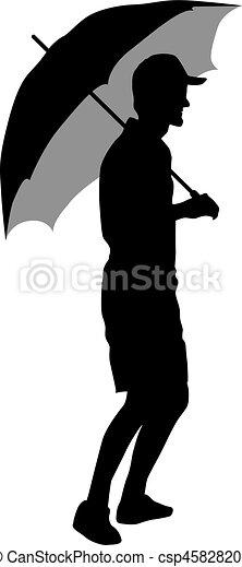 noir, silhouettes, hommes, parapluie, sous - csp45828206