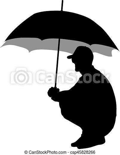 noir, silhouettes, hommes, parapluie, sous - csp45828266