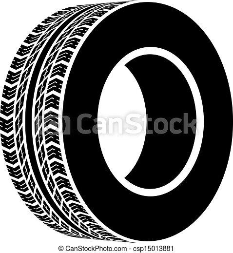 noir, symbole, vecteur, terrain, pneu - csp15013881