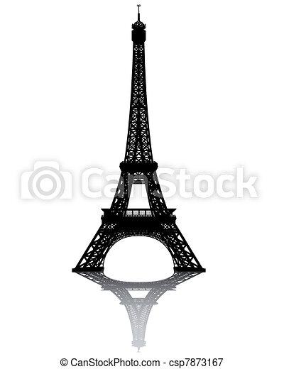 noir, tour, eiffel, silhouette - csp7873167