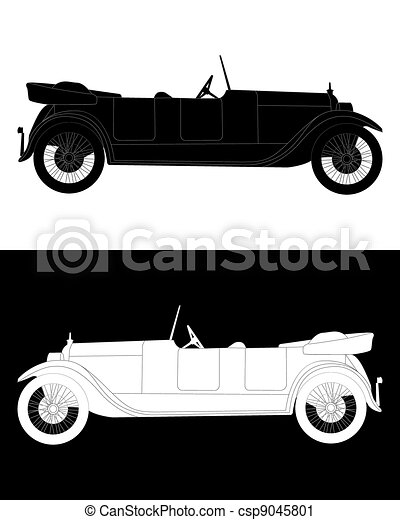 noir, voiture, silhouette, blanc - csp9045801