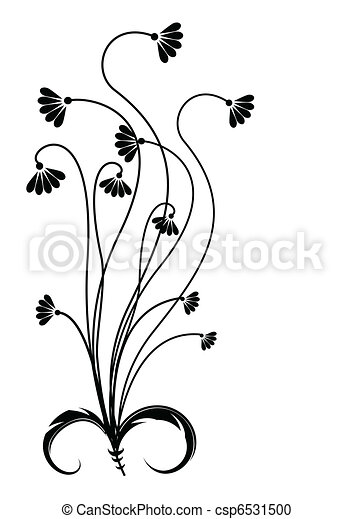 noir, white., silhouette, fleur - csp6531500