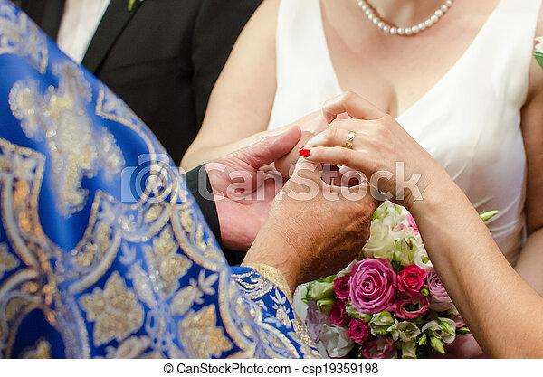 noiva, anel, recebendo, casório - csp19359198