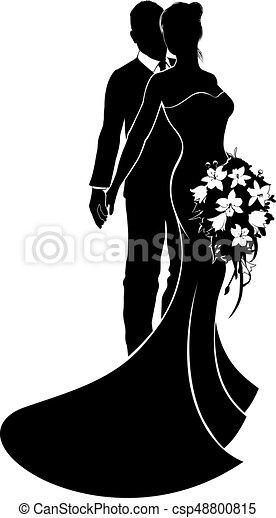 noiva, casório, conceito, silueta, noivo - csp48800815