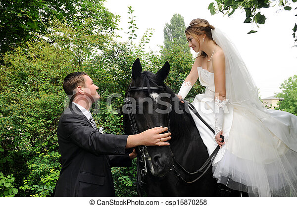 noiva, casório, noivo, horseback - csp15870258
