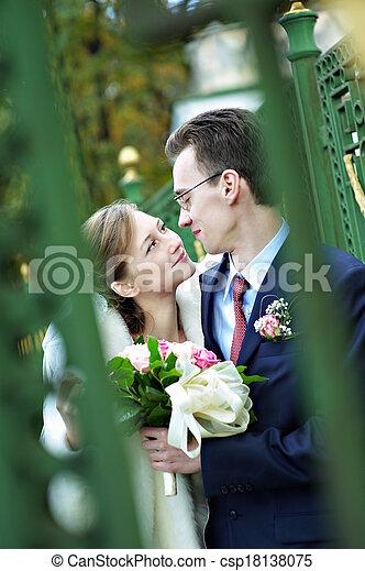 noiva, casório, noivo, passeio - csp18138075