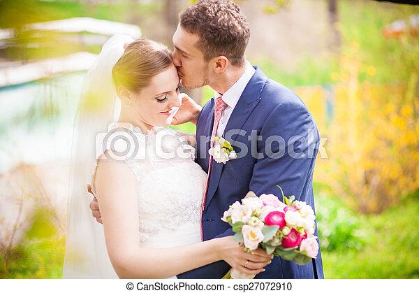 noiva, casório, noivo, primavera - csp27072910