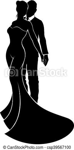 noiva, casório, noivo, silueta - csp39567100