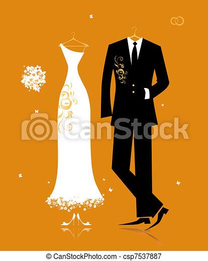 noiva, noivo, paleto, desenho, vestido casamento, seu - csp7537887