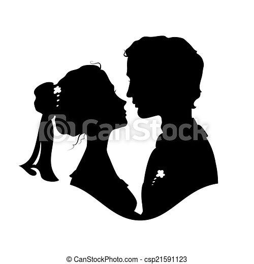 Noiva Silhuetas Noivo Noivo Contra Noiva Silhuetas