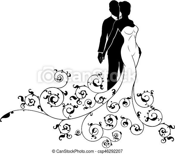 noiva, silueta, casório, noivo, padrão, abstratos - csp46292207