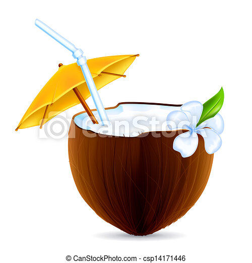 noix coco, vecteur, cocktail - csp14171446