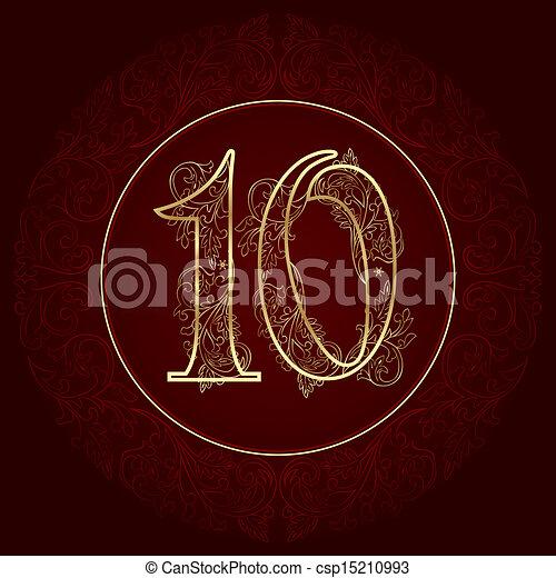 nombre, vendange, 10, floral - csp15210993