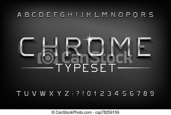 nombres, alphabet, lettres, shadow., métal, chrome, font., 3d - csp78259159