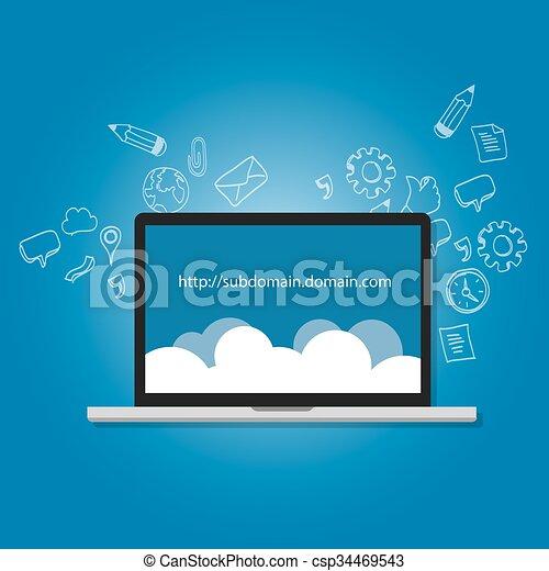 nome, .com, ilustração, internet, domínio, endereço, subdomain - csp34469543