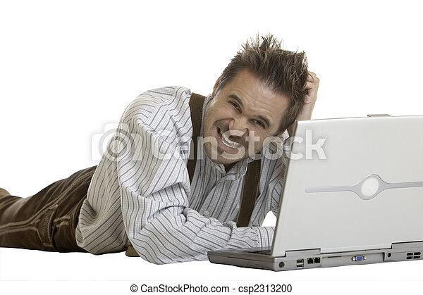 non, bavarois, travail, idée, comment, a, ordinateur portable, homme - csp2313200