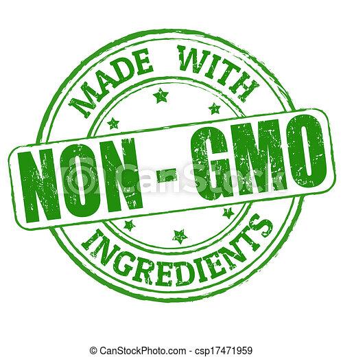 non, fatto, gmo, ingredienti, francobollo, - - csp17471959
