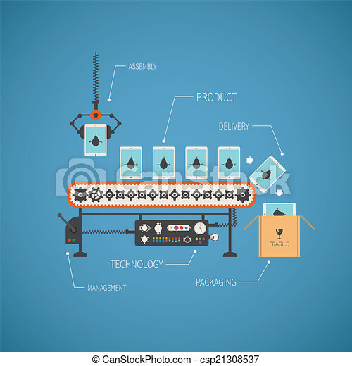 noname, concept, fin, tablette, convoyeur, pc, vecteur, salut, ligne, production - csp21308537