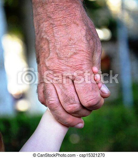 nonno, vecchio, nipote, mani - csp15321270