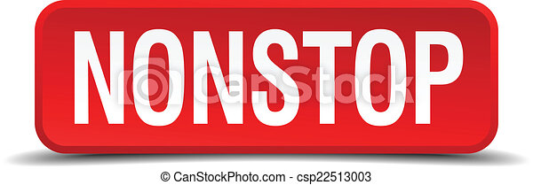 Nonstop red 3d square button isolated on white - csp22513003