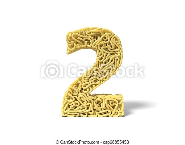 noodle in shape of number 2. curly spaghetti for cooking. 3d illustration - csp68855453