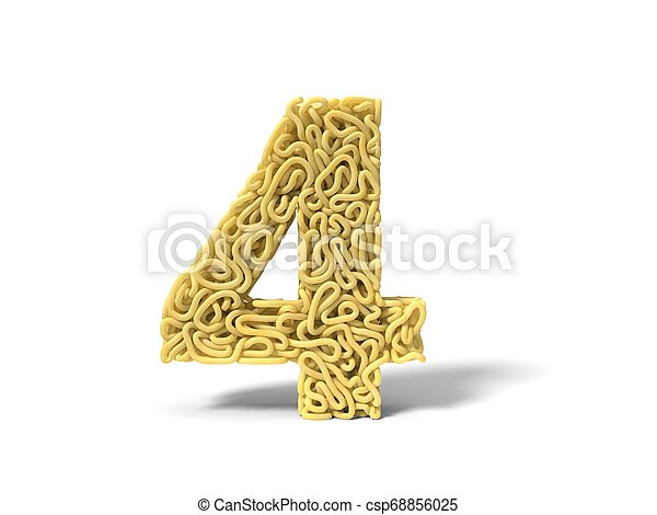 noodle in shape of number 4. curly spaghetti for cooking. 3d illustration - csp68856025