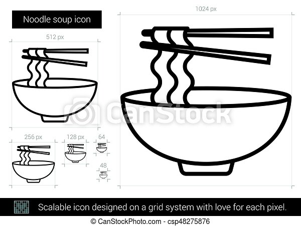 Noodle Soup Line Icon Noodle Soup Vector Line Icon Isolated On White Background Noodle Soup Line Icon For Infographic Canstock