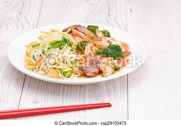 Noodles with Chicken Beef and Crab Stick - csp29103473