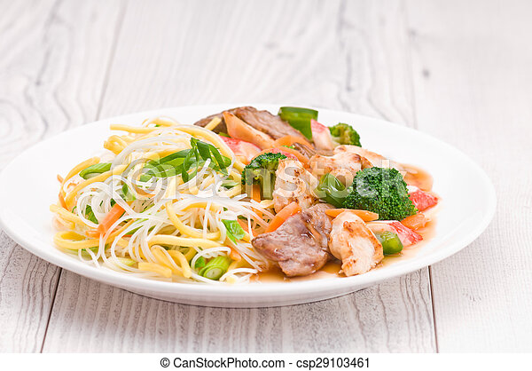 Noodles with Chicken Beef and Crab Stick - csp29103461