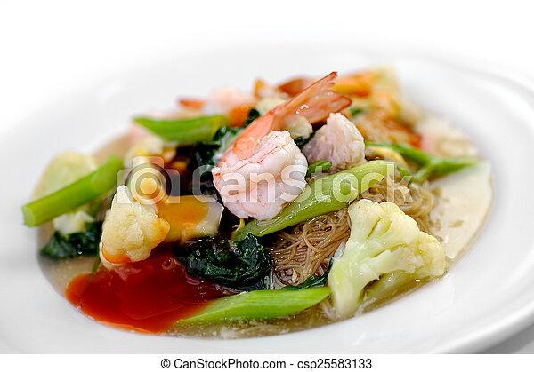 noodles with prawns - csp25583133