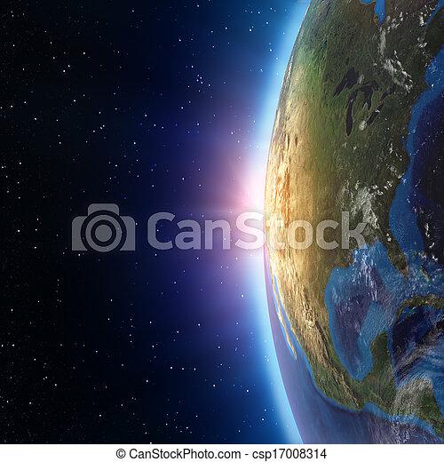 noord-amerika, ondergaande zon , ruimte - csp17008314