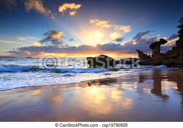 noraville, ausztrália, tengerpart, napkelte, nsw - csp19790928