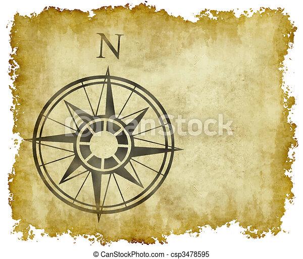 nord, carte, flèche, compas - csp3478595