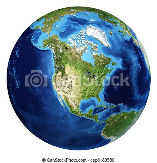 Erdkugel, realistische 3 D-Werbung. Nordamerikanische Sicht. - csp8183580
