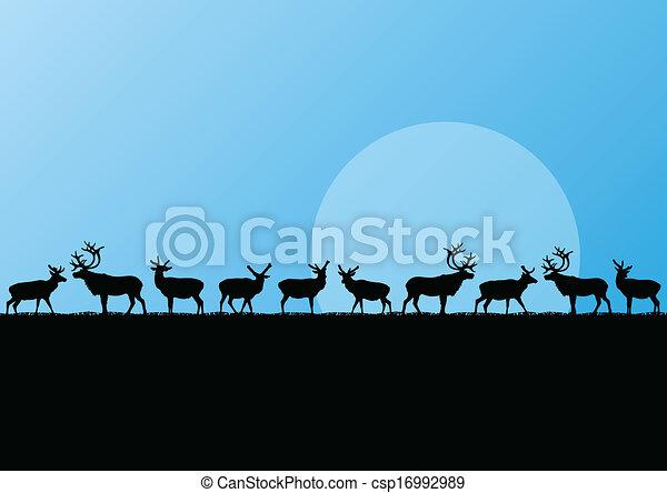 nord, illustration, troupeau, renne, vecteur, fond, froid, paysage - csp16992989