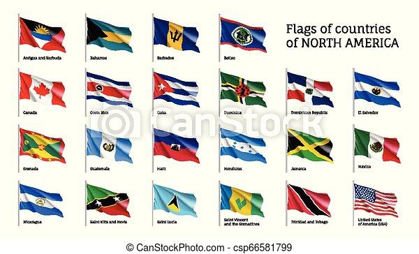 nord, ondeggiare, realistico, bandiere, america, continente - csp66581799