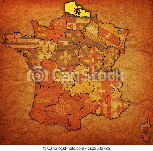 Map Of France Calais.Nord Pas De Calais On Old Map Of France With Flags Of Administrative
