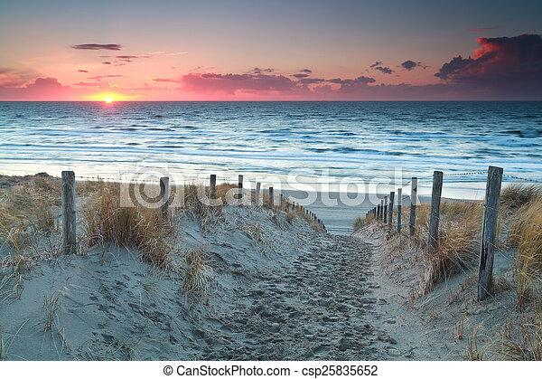 nord, sabbia, tramonto, mare, percorso, spiaggia, prima - csp25835652