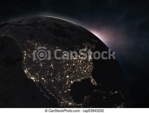 nord, sur, -, la terre, amérique, levers de soleil - csp53943202