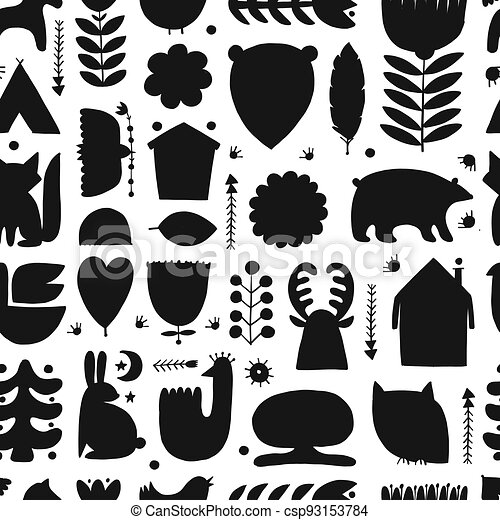Nordic Ornament. Forest Animals, Folk Background. Seamless pattern for your design - csp93153784