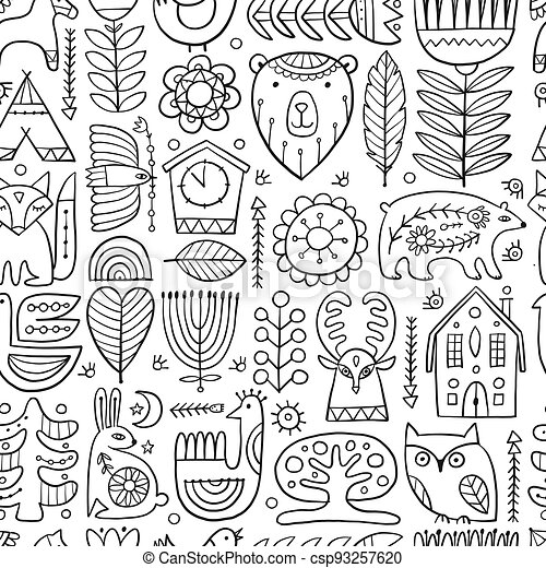 Nordic Ornament. Forest Animals, Folk Background. Seamless pattern for your design - csp93257620